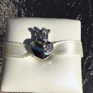 Charm crown heart silver CZ works w pandora